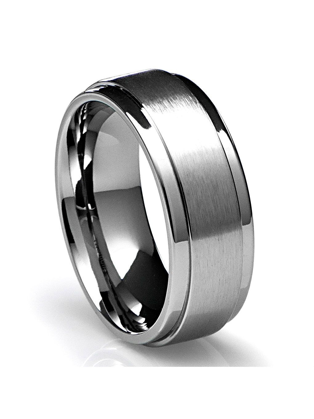 Cavalier Jewelers Mens Wedding Band In Titanium 8mm Ring With Flat Brushed Top And Polished Finish Edges Walmart Com In 2020 Wedding Ring Bands Titanium Rings For Men Mens Wedding Rings