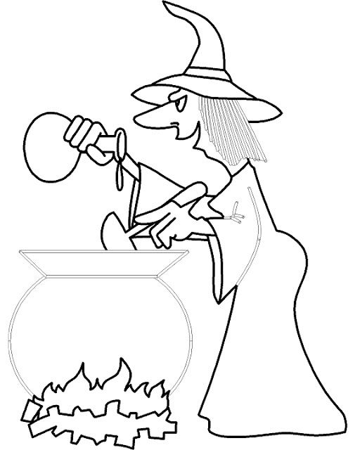 Free Witch Hat And Cauldron Printable Coloring Page Templates For Kids And Adults Halloween Coloring Pages Halloween Coloring Coloring Pages