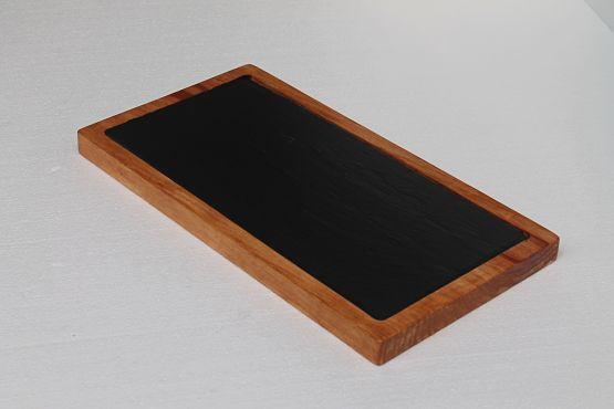 Tabla de madera y pizarra natural 42x22 cm.
