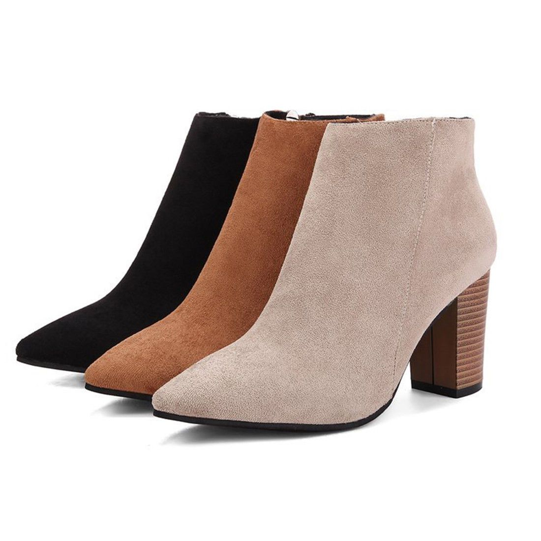 Womens ladies Ankle Boots Pointed Toe High Block Heels Side Zip casual Shoes