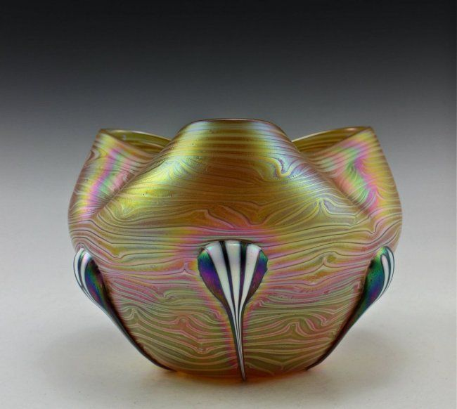 Amazing Bohemian Glass Art Noveau Style Iridescent Bowl : Lot 7