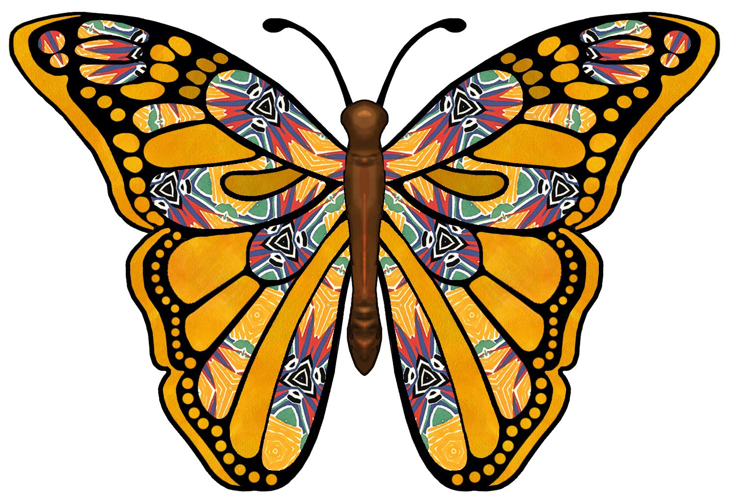ArtbyJean - Butterflies: Butterfly with bright colorful pattern ...