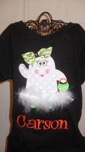 Halloween Ghost Applique Shirt | Doodlebugdesigns34 - Clothing on ArtFire
