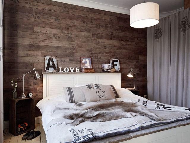 Holz Wand Im Schlafzimmer Design Nachttischlampe Edelstahl