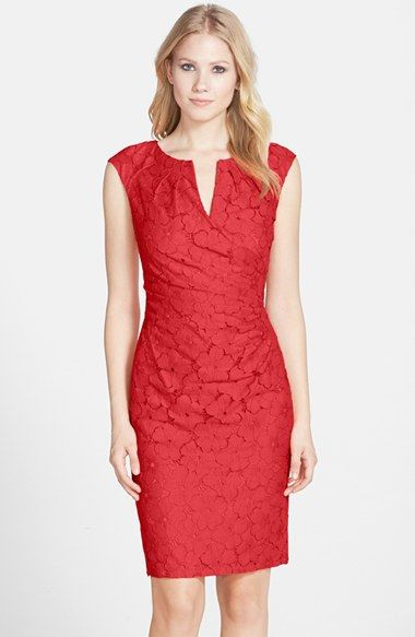 b8c53d4f Adrianna Papell Floral Lace Side Pleated Sheath Dress (Regular & Petite)  available at #Nordstrom