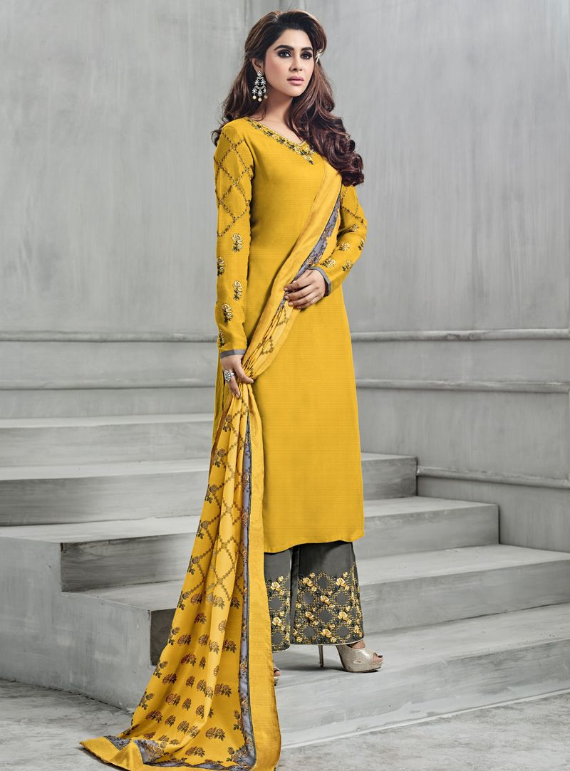 b3eb87bc20 Buy Yellow Banarasi Silk Readymade Pakistani Style Suit 129804 online at  lowest price from vast collection at m.indianclothstore.c.