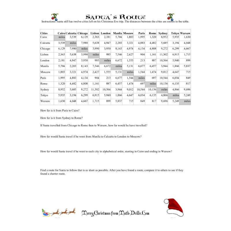 Christmas Math Worksheet -- Santa's Route