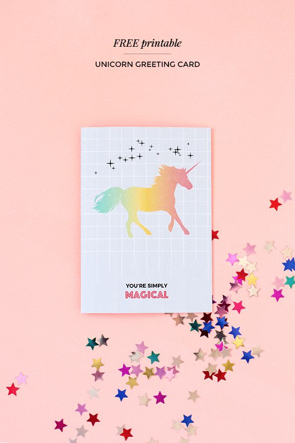 Printable Unicorn Greeting Card Print Me 1 Cards Free