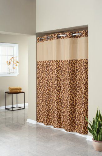 Hookless Fabric Shower Curtain With Built In Liner Leopard Print