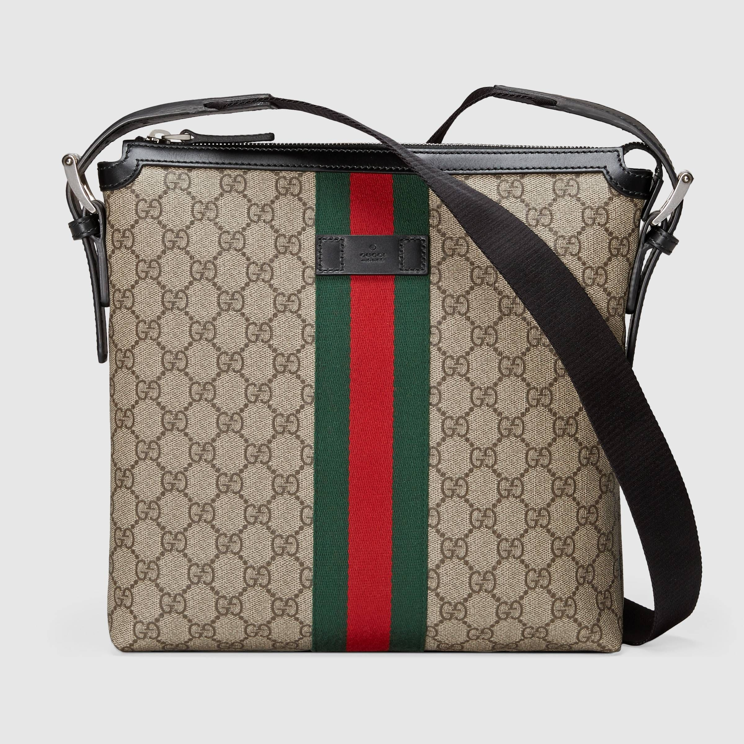 6877c9c5a3b4 Web GG Supreme messenger in Beige/ebony GG Supreme canvas, a material with  low environmental impact, with black leather trims | Gucci Men's Messenger  Bags