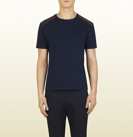 dark blue cotton t-shirt with leather details