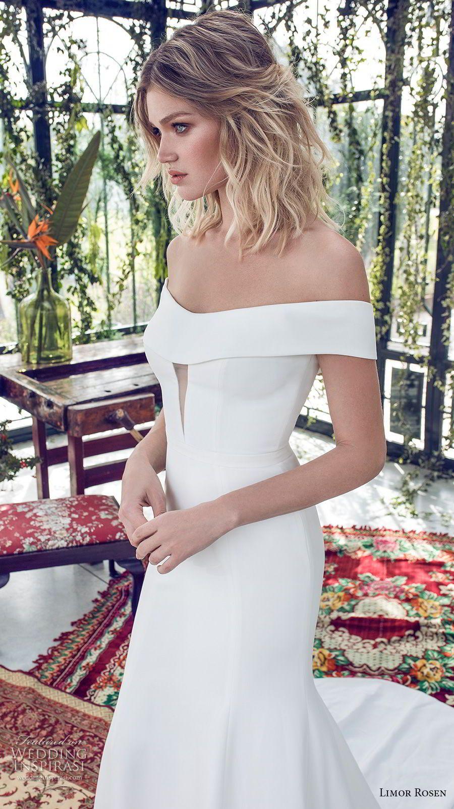 Simple off the shoulder wedding dresses  limor rosen  xo bridal off the shoulder semi scoop neckline