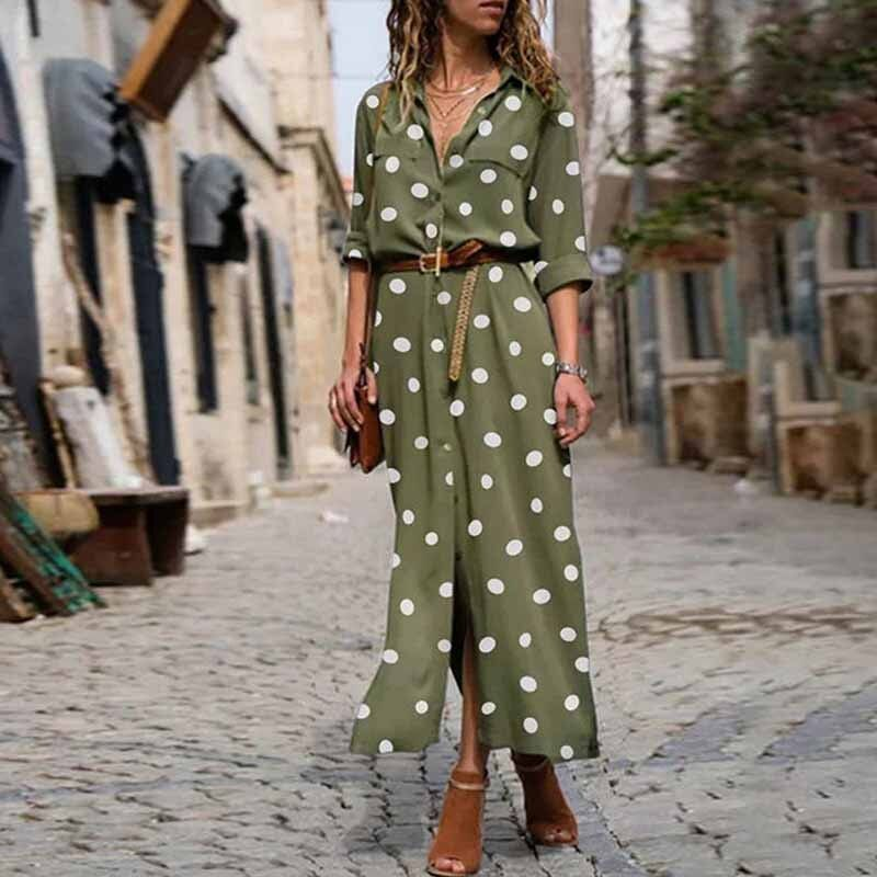 #salspor #summer #womens #dress #v-neck #long #sleeve #button #print #dot #vintage #women's #casual #beach #party #korean #version #dresses