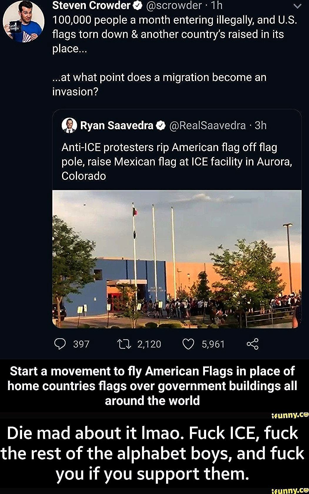 Stevenuniverse Realsaavedra Animemanga Migration Illegally Movement American Scrowder Crowdero Saavedra Countrys Invas In 2020 Tear Down American Flag Torn