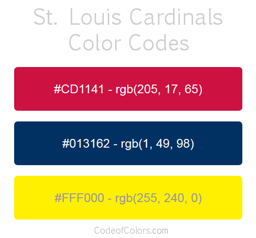 St Louis Cardinals Team Color Codes  Mlb Team Colors