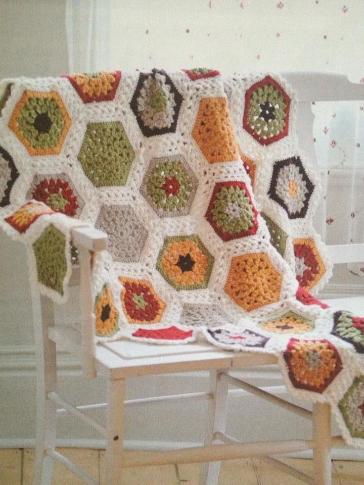 Crochet Hexagon Granny Square Blanket / Throw Crochet PDF Pattern ...