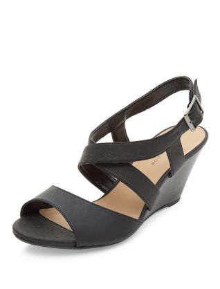 Wide Fit Black Cross Strap Wedges   New Look   Wide fit