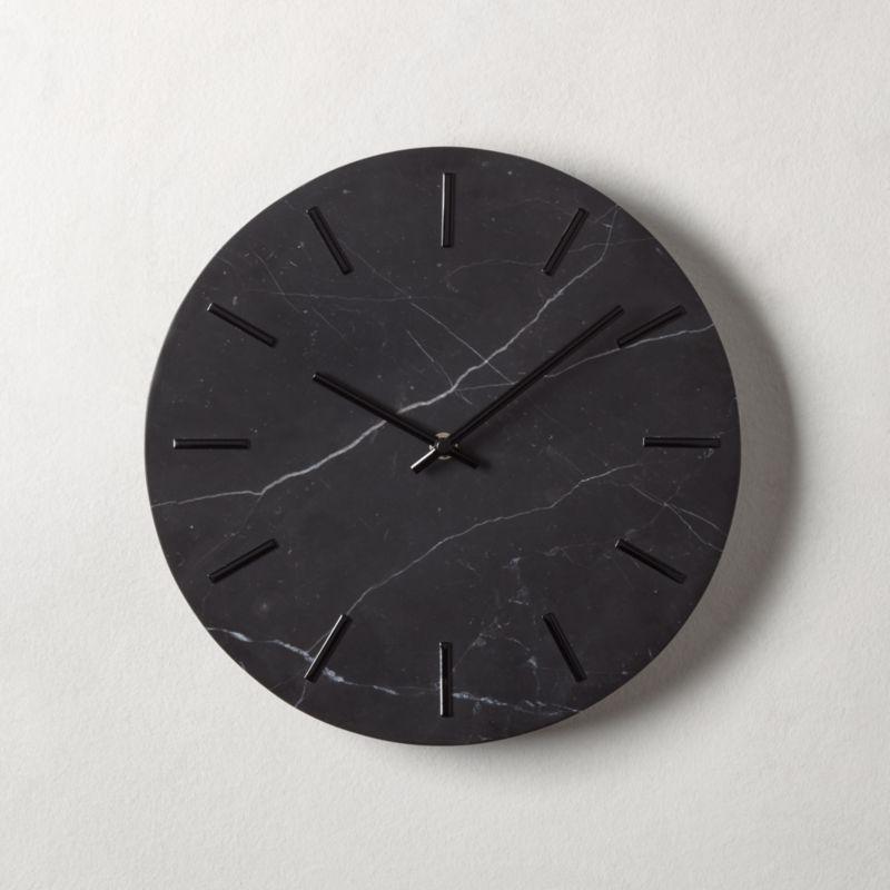 Carlo Black Marble Wall Clock Reviews Cb2 Marble Clock Wall Clock Modern Wall Clock
