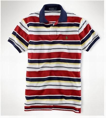 Ralph Lauren Classic Fit Yellow Multi-Colored Stripe Mesh Polo Shirt Pony-NWT