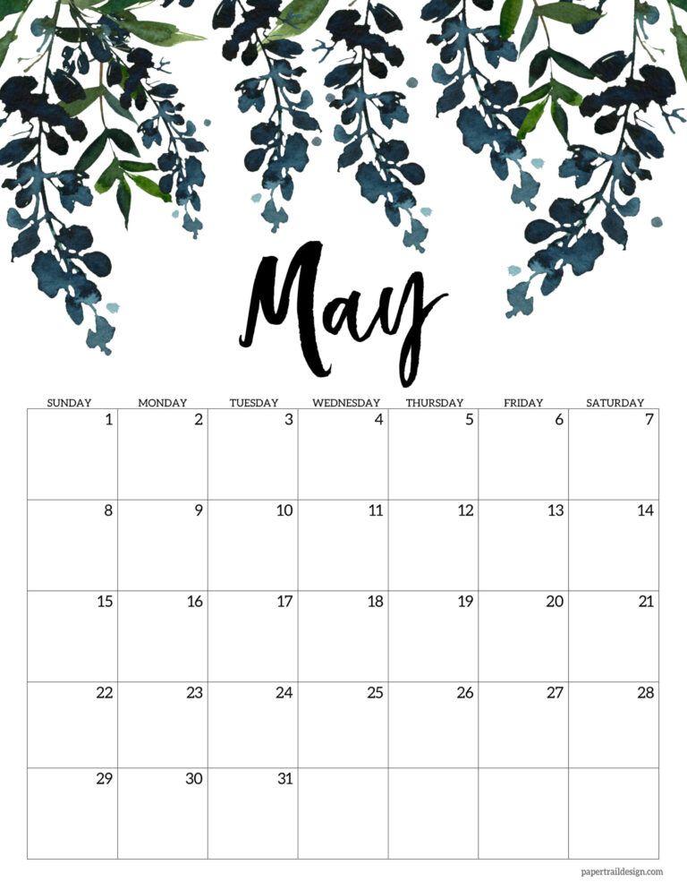 Calendrier Trails 2022 Free 2022 Calendar Printable   Floral | Paper Trail Design in 2021