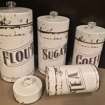 Vintage Kitchen Canisters 4 Piece Set Flour Sugar Coffee