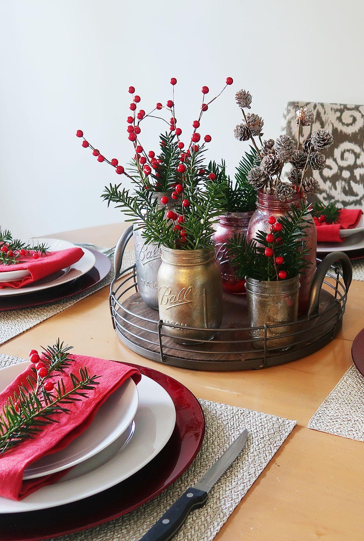 Christmas Table Setting And Decor Holiday Table Decorations Christmas Table Christmas Table Centerpieces
