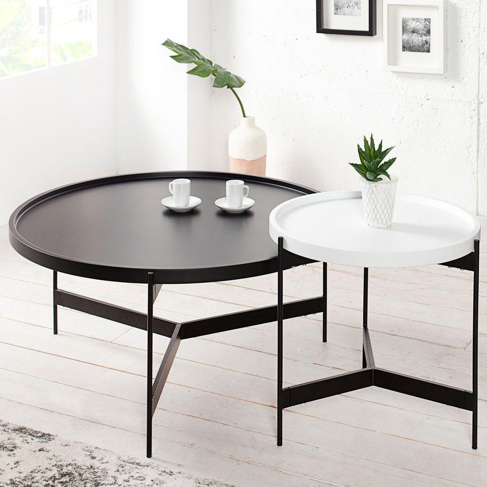 Details zu designer couchtisch 2er set chrom wei tisch for Marmor couchtisch rund