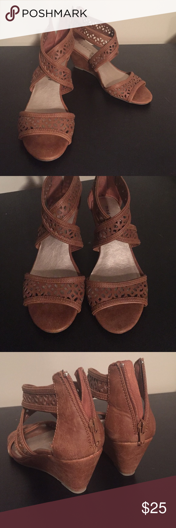 Madden girl wedges Tan madden girl wedges size 7. Worn few times in great condition! Madden Girl Shoes Wedges
