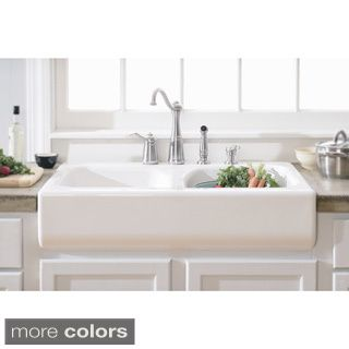 Somette Fireclay Butler Large 29 5 Inch Kitchen Sink Overstock Com Shopping The Best Deals On K Farmhouse Sink Kitchen Deep Sink Kitchen Apron Sink Kitchen Drop in apron front sink