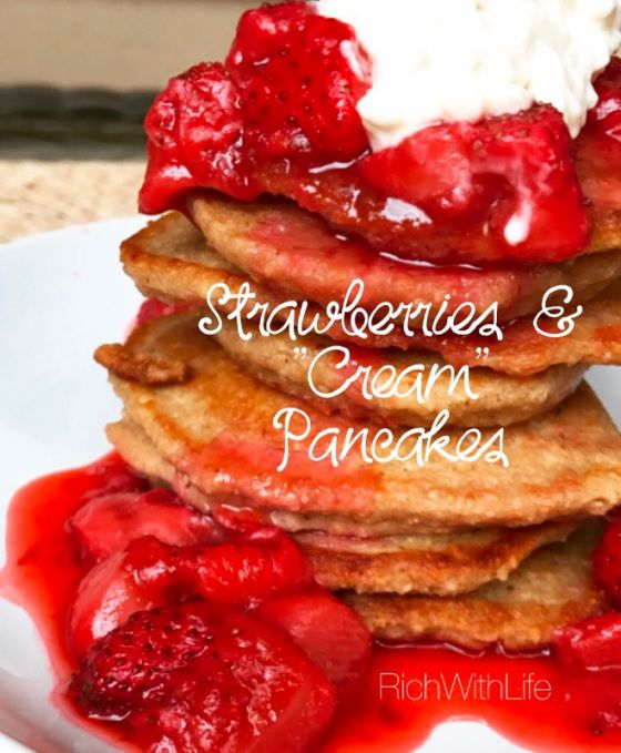 Strawberries and Cream Pancakes - Gluten Free, Dairy Free, Refined Sugar Free, Vegetarian. Oat flour pancakes with a decadent non-dairy topping that is to die for! For those of you with special diets...Treatyoself on this National Pancake Day!