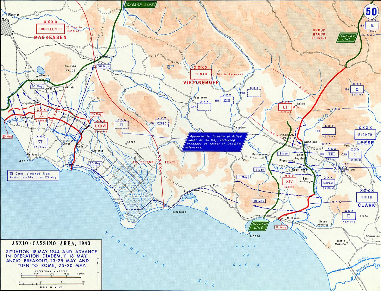 Map Of The Allied Breakout From The Anzio Italy Beachhead And Advance From The Gustav