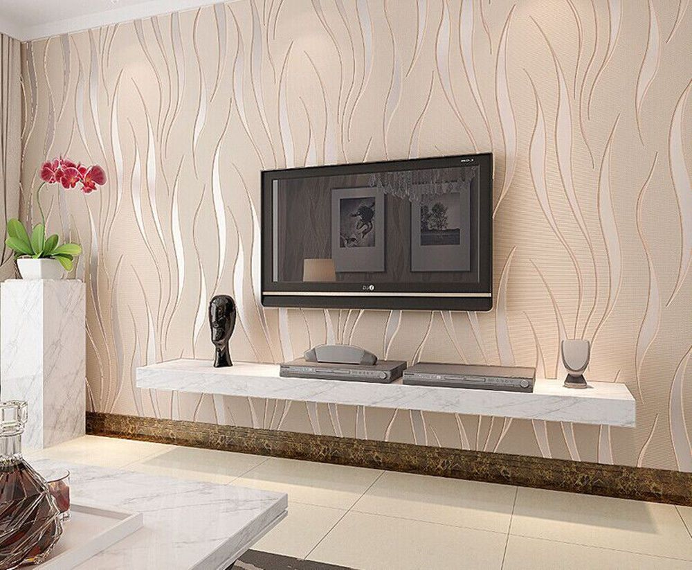 3d Wave Texture Wallpaper Bedroom Room Modern Non Woven Wallp