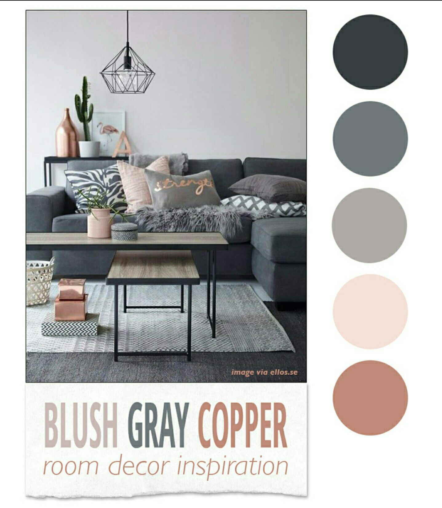 Best Rose Gold Black White And Grey Room Inspiration Interior Design Living Room Grey 400 x 300