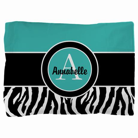 Teal Zebra Monogram Personalized Pillow Sham on CafePress.com