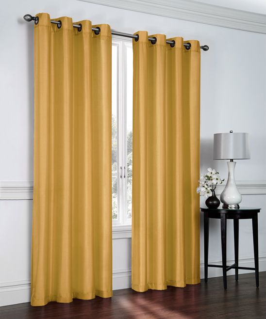 Gold Faux Silk Curtain Panel - Set of Two