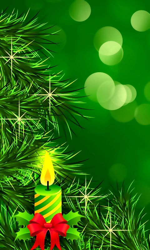 Download 480x800 Christmas Candle Cell Phone Wallpaper