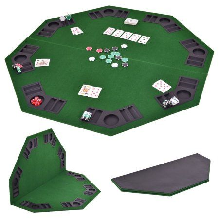 Costway 48u0027u0027 Octagon 8 Player Folding Poker Table Top U0026 Carrying Case Green  Portable