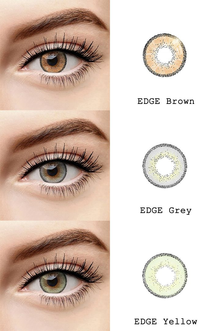Microeyelenses Colored Contact Lenses Online Edge Series Brown Gray And Yellow