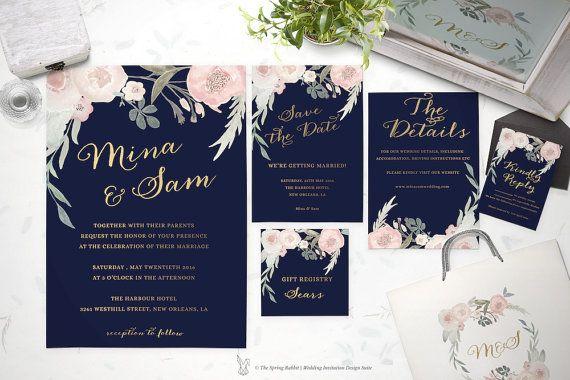Printable Wedding Invitation Suite Customizable Wedding Invites Diy Weddin Diy Printable Wedding Invitations Script Wedding Invitations Wedding Invitations