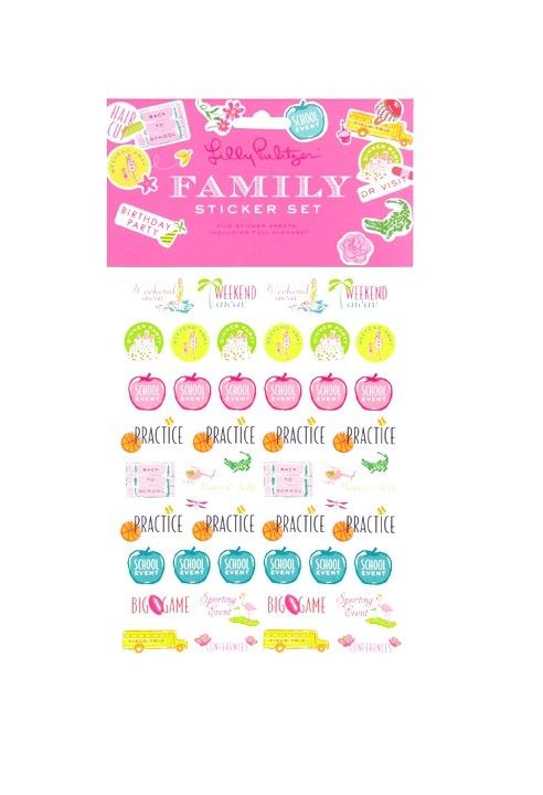 Pea Pod Paper and Gifts Family Agenda Sticker Set - Lilly Pulitzer - family agenda