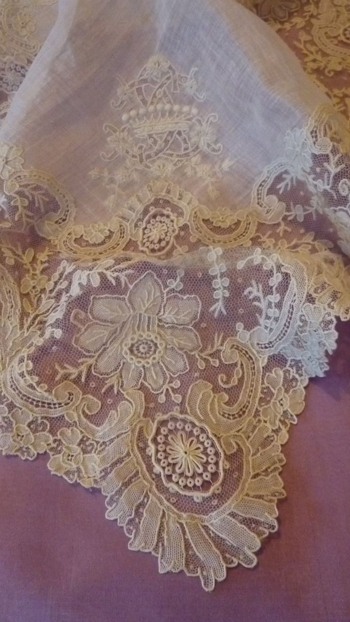 Exquisite antique Brussels point de gaze  needle lace : dentelle aristocratic wedding handkerchief or hanky, hand embroidered with the crown of a