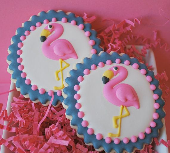 PINK FLAMINGO DECORATED SUGAR COOKIES. Sweet goosie girl in Orlando.