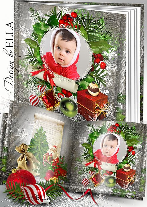 Christmas photobook psd in winter design. Photo album psd with snowman and Santa Claus, Christmas gifts and toys.