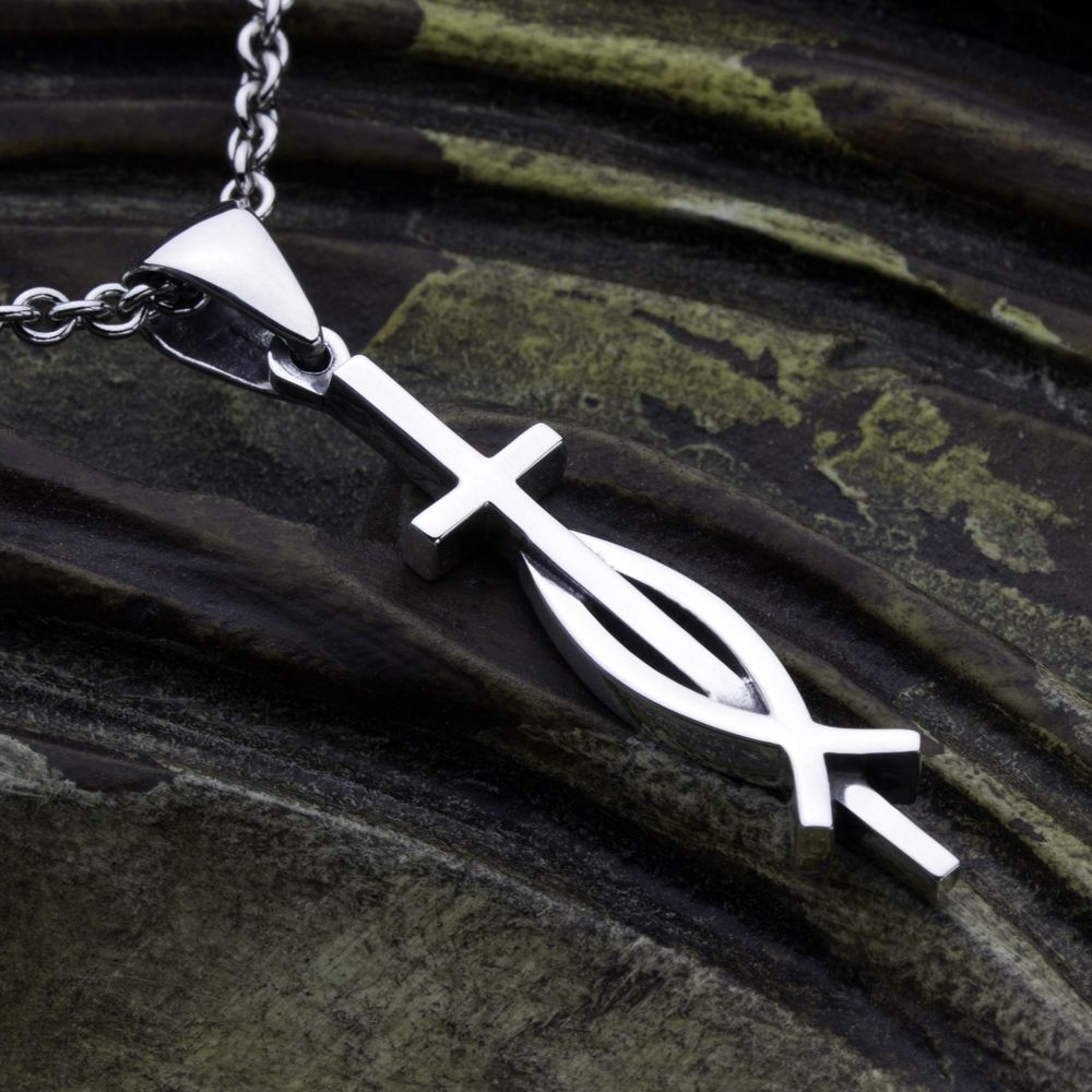 Thin cross with ichthus fish sterling silver contemporary thin cross with ichthus fish sterling silver contemporary christian necklace pendant david daffer designs aloadofball Image collections