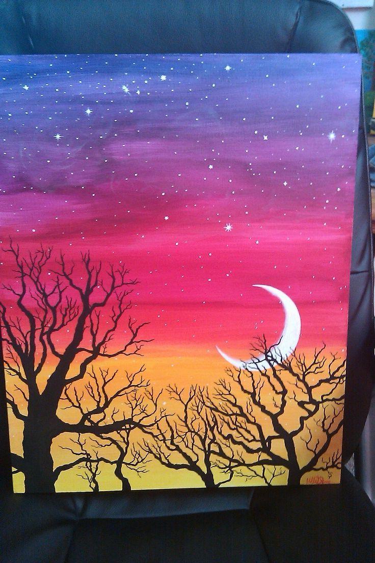 Image Result For Easy Acrylic Painting Ideas For Beginners On Canvas Aquarellbilder Wasserfarben Bilder Sonnenuntergang Malerei