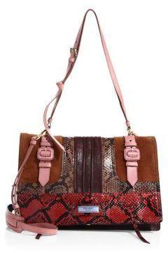39ed240fc0d7 Prada Etiquette Leather & Snakeskin Patch Shoulder Bag | Products ...