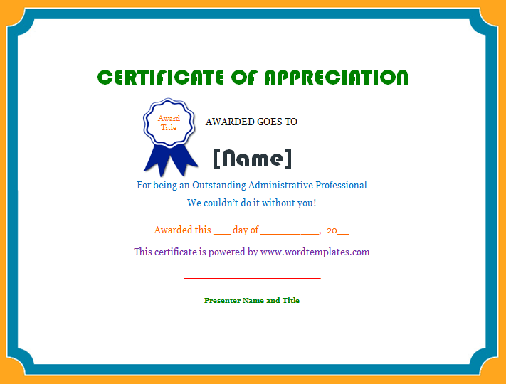 Free Appreciation Certificate Templates For Word. Free Certificate