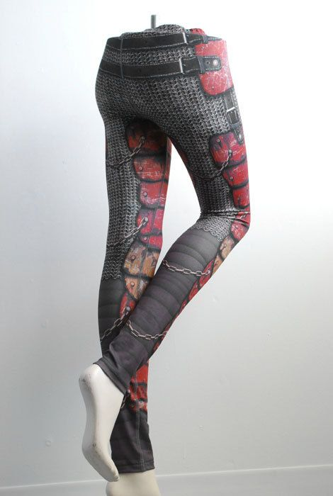 Armour Leggings - Size M Red - Printed Chainmail and Metal Tights