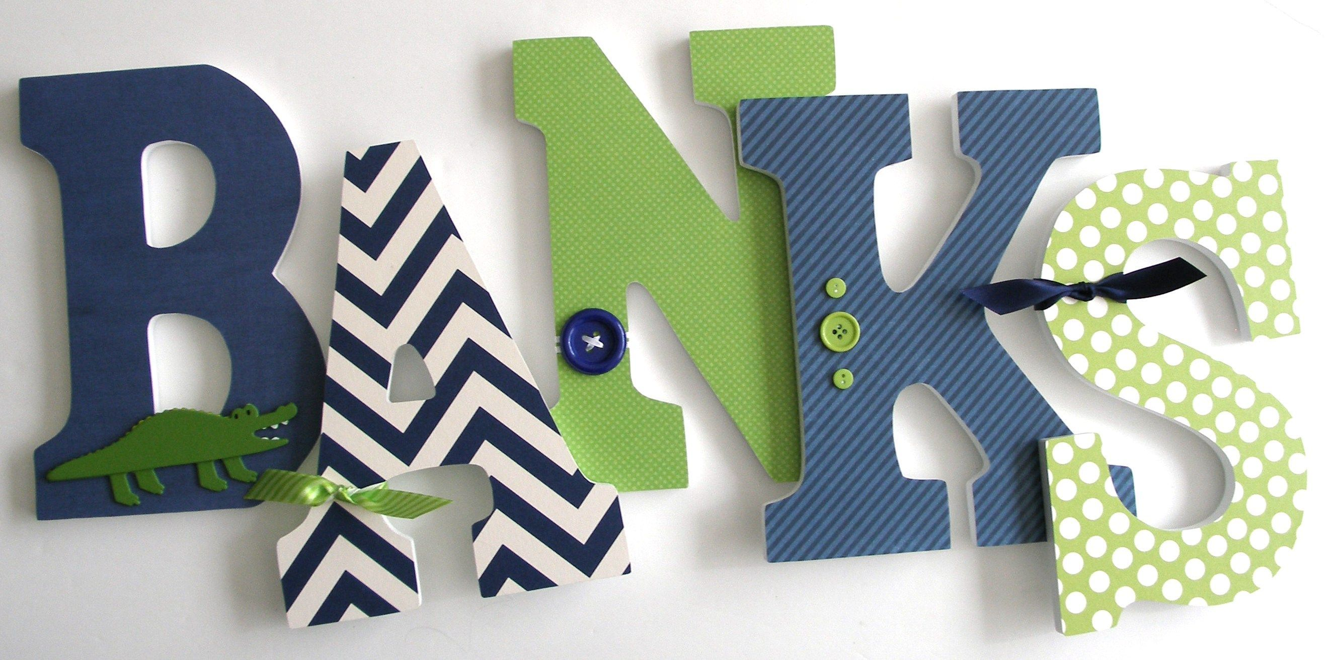 Bedroom Decor Letters custom made navy blue and green wooden letters - baby room decor