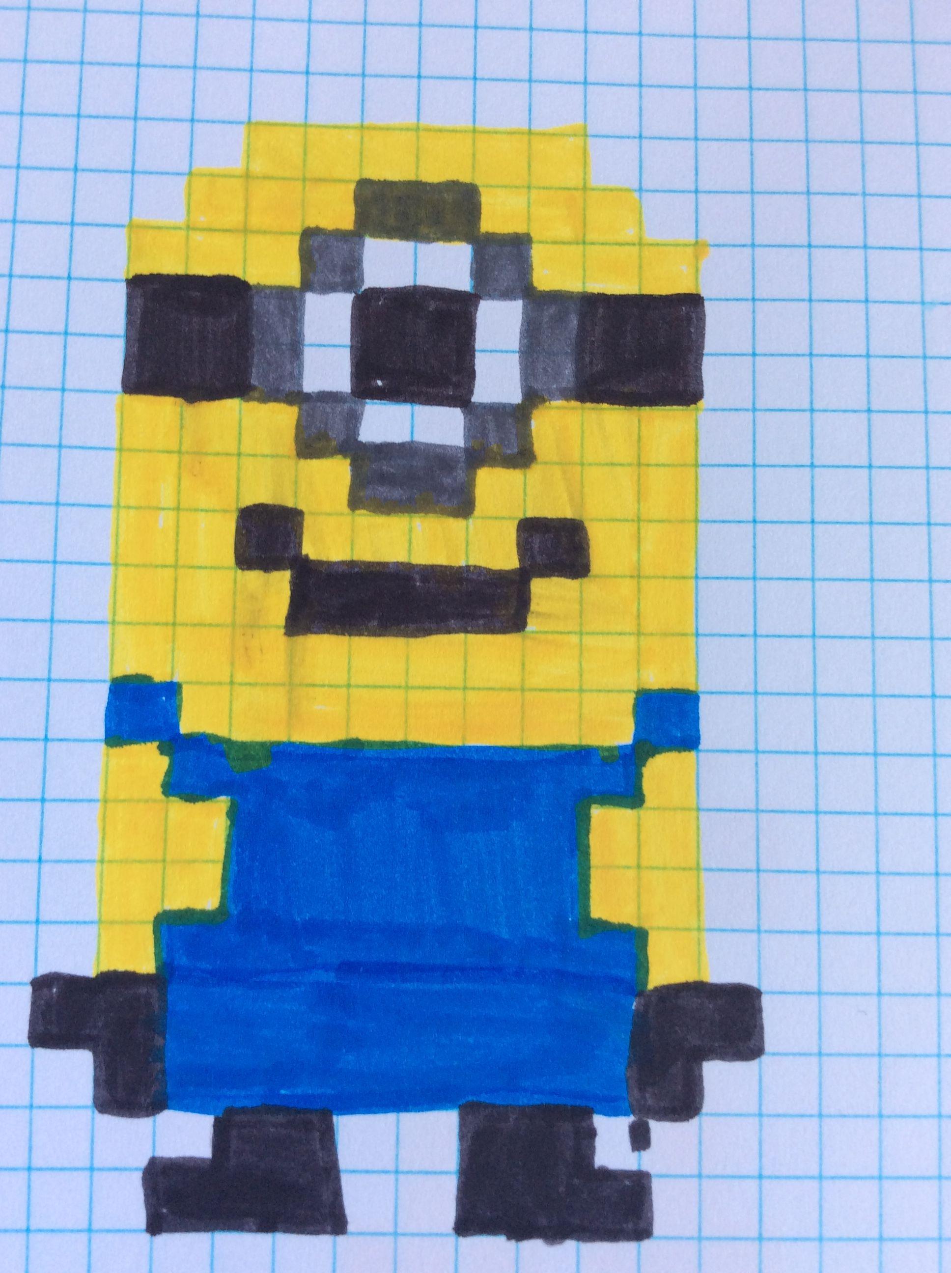 Pixel-art minion | Pixel-art✍ | Pinterest